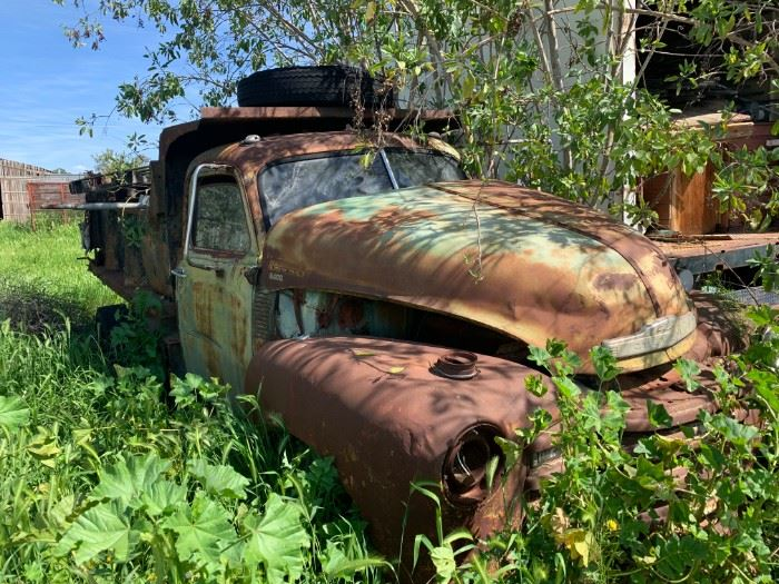 Cool old Chevrolet truck ready to be hauled off for someones dream project, or lawn art =)