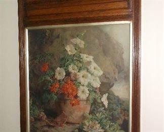 Floral print in antique frame