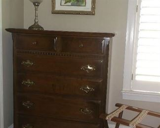 Chest of drawers by Ethan Allen and luggage rack