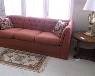 Sofa and round side table