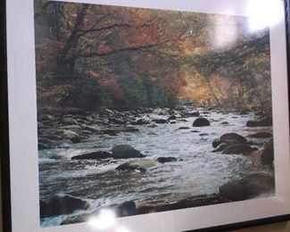 Signed print of river scene