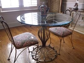 Woodard wrought iron table and two chairs
