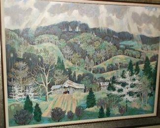 Tennessee mountain scene oil on canvas by John Richardson