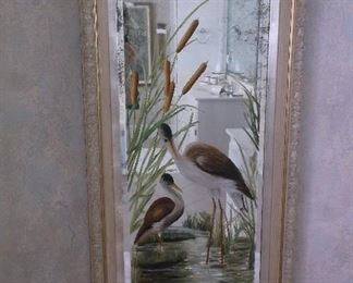 Antique mirror w/hand painted cranes