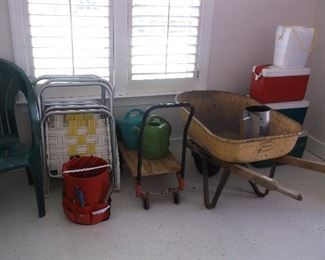Coolers, wheel barrow, cart, lawn chairs