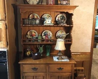 Solid wood kitchen dresser, chicken-themed home decor