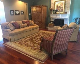 Living room furniture with coordinating area rug, wall decor - Bernhardt Sofa & Arm Chair  in excellent condition,