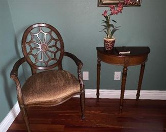 Small half moon lamp table,  and  cobweb-back upholstered wooden side chair