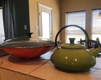 Le Cruset Wok, and enamel teapot kettle