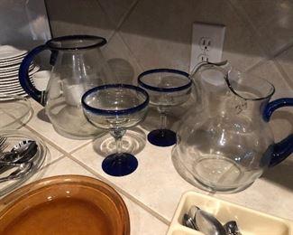 Handblown margarita pitcher and glasses