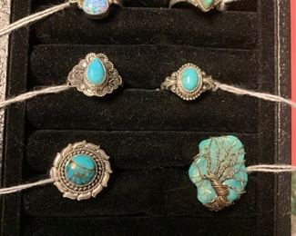 Sterling silver rings with turquoise