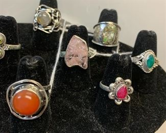 Sterling silver rings with rough opals, carnelian, another semi precious gemstones