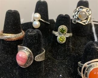 Sterling silver rings with pearls, carnelian, another precious and semi precious gemstones