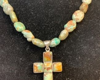 Sterling silver and chunky  turquoise necklace  with sterling and turquoise cross pendant