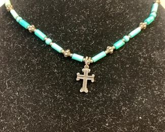 Sterling silver and turquoise necklace with sterling cross pendant