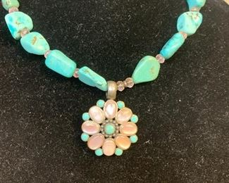 Sterling silver and chunky turquoise necklace with sterling silver, turquoise, and mother of pearl pendant