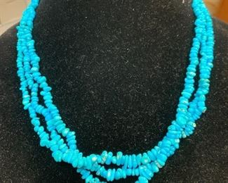 Sterling silver and  multi strand turquoise necklace