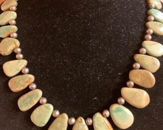 Natural green turquoise and sterling silver necklace