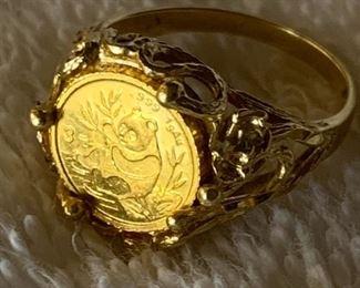 1991 .999 Gold Panda Coin set in 14k gold ring Sz 4.5