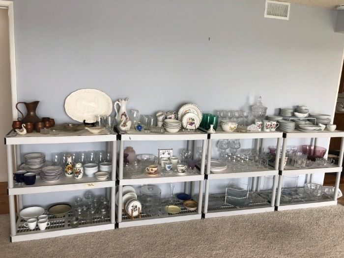 lots of glassware, china, and decor
