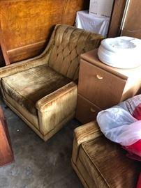 Gold velvet upholstered lounge chairs