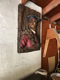 unique wood carving of a pirate