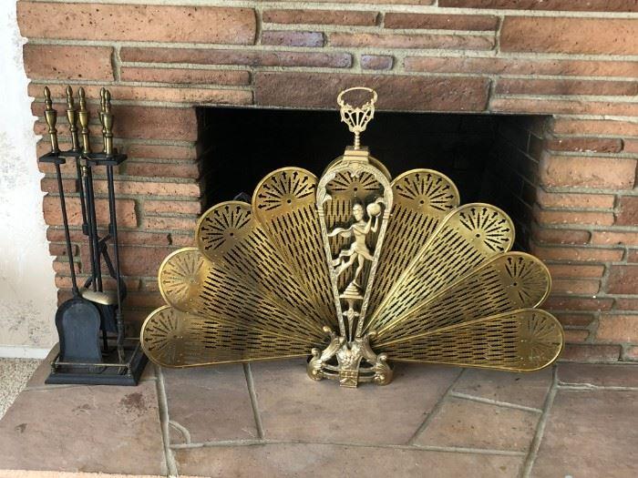Brass Fan Fireplace Screen