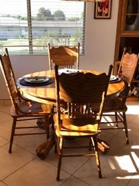 Oak table and chairs dining set