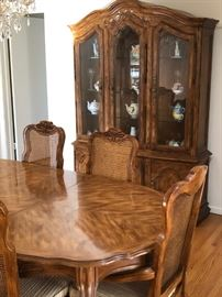 Formal Dining Room Table, Chairs, and buffet hutch comes with leaves and pad protector cover