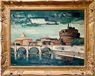 """Enhanced Litho. on Canvas by Frederico Lloveras, """"Castel St. Angelo, Rome"""""""