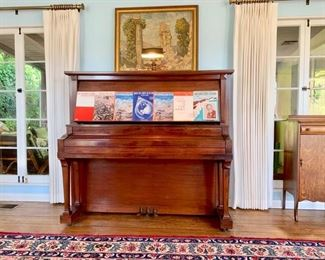 Prized Early 20th C. Walnut Upright Grand by Chickering; (Full Harp and Noiseless Pedal Action).  Also, Oak Music Cabinet