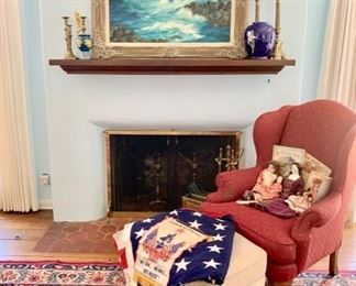 Down-Filled Wing Chair with Fitted Hassock; 9' X 12'  Mid-20th C. Hand Knotted Hamadan Rug; Laguna Seascape; Antique Dolls