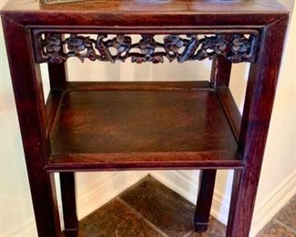 1930's -'40's Heavy Rosewood, Hand-Carved Chinese Table with Shelf