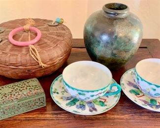 """Old Carved Cinnabar Chinese Box; Pair of Chinese Eggshell Porcelain Hand-Painted Cups and Saucers; 1930""""s Chinese Sewing Basket with Peking Glass;  Bronze Vase"""