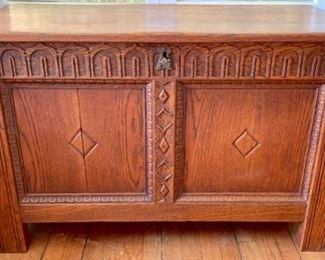 Early 20th C. Golden Oak, Large,  Hand Carved Chest (includes key)