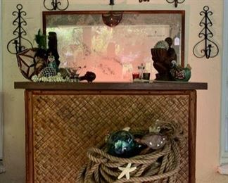 Rattan Bar; South Seas Decor incl. Glass Floats,  Shell Collection, Hand-Carved Melanesian Masks and Figures, Framed Map of The Solomon Islands (Printed in Australia)