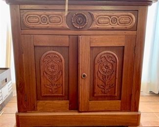 Antique American Cottage Cupboard, Hand Carved (key locking drawer and door)