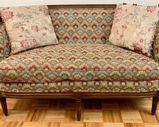 One of a Pair of Down Filled Louis XVI-Style Settee's with Flame-stitched Tapestry; Silk Pillows with Passementerie Trim