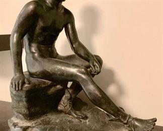 Grand Tour Bronze Sculpture, Seated Hermes Mercury