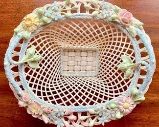 Rare Belleek Basket, pastel floral applied decoration