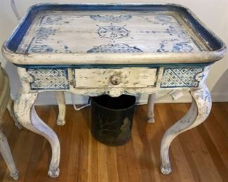 Tea Table, Hand Painted in Delft Colors