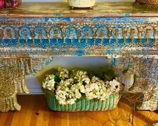 Exotic Distressed painted hand carved wood console table
