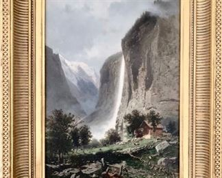 "Eugene Deshayes (French, 1828-1890) Staubach Falls, oil on panel, 15-1/4"" x 10-3/4"", in gilt frame"