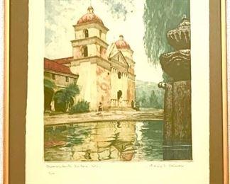 """""""Santa Barbara Mission"""" Aquatint by Ludwig Reimer, 20th C. Artist"""