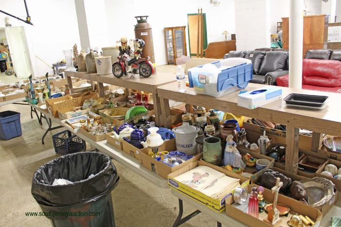 HUGE selection of collectibles, designer, decorator, glassware, porcelain, cast iron, wood, antique, vintage, new, tables loaded with box lots filled to the BRIM!