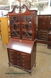 Mahogany Ball and Claw Serpentine Front Secretary with Bookcase Top  Located Inside – Auction Estimate $100-$300