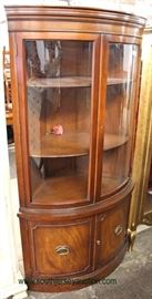 Mahogany Bow Front CORNER China Cabinet with Key  Located Inside – Auction Estimate $200-$400