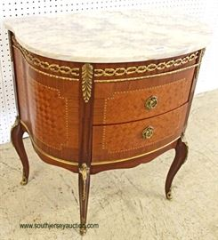 ANTIQUE Marble Top French Mahogany Inlaid and Banded 2 Drawer Commode with Applied Bronze  Located Inside – Auction Estimate $200-$400
