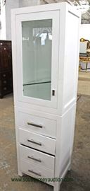 NEW Contemporary 1 Door 3 Drawer White Cabinet  Located Inside – Auction Estimate $100-$200