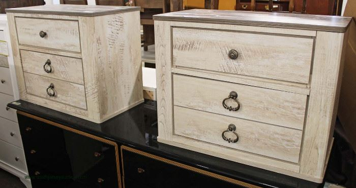 PAIR of NEW White Wash Country Style 3 Drawer Night Stands – Located Inside – Auction Estimate $200-$400